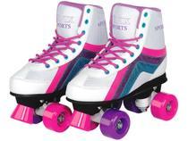 Patins 4 Rodas Infantil Roller Skate Nº 34 ao 35 - Branco Fenix