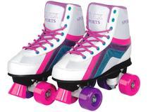 Patins 4 Rodas Infantil Roller Skate Nº 38 ao 39 - Branco Fenix