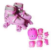 Patins 4 Rodas Roller com Kit de Proteção Rosa TAM 35/38 Ajustável BW017RM - Importway
