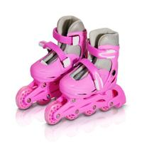 Patins 4 Rodas Roller In Line Rosa N.35/38 BW018R Importway