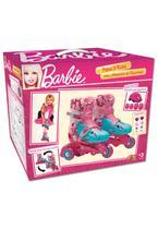 Patins Ajustáveis com Kit de Segurança - 3 Rodas - Tamanho 29 a 32 - Barbie - Fun -