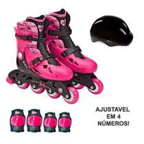 Patins Ajustáveis com Kit de Segurança - 4 Rodas - Tamanho 33 a 36 - Rosa - Barbie - Fun - Barão Distribuidor