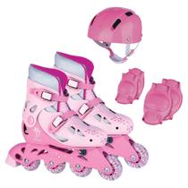 Patins ajustavel rosa com kit protecao 38/41 - Fenix