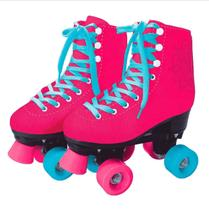 Patins Clássico 4 Rodas Rosa Barbie Fun 35-36