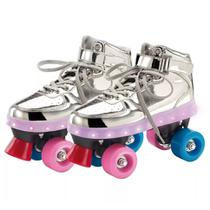Patins Clássico Fun 4 Rodas com LED Prata 35-36 - 8310-2