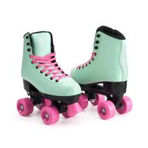 Patins Fashion Rollers My Style Tam. 37 com 4 Rodas Verde/Rosa Multikids - BR1006 -