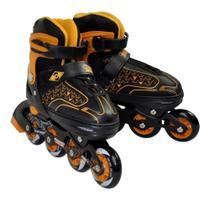 patins in line 37/40 tamanho ajustavel Discovery Adventures preto/laranja - Yins