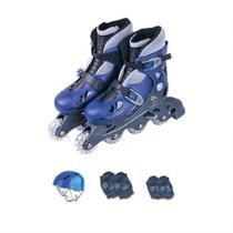 Patins In-line Fenix Ajustáveis Com Acessórios AD-01 Azul -