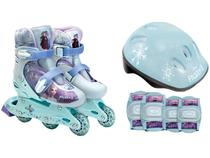 Patins in Line Infantil Fun  Frozen Azul e Branco - com Acessórios