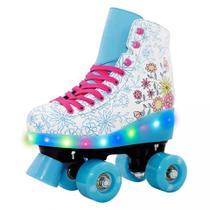 Patins Infantil 4 Rodas com led Feminino quad Roller e Skate Florido - Dm Toys