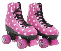Patins Infantil 4 Rodas com led Feminino quad Roller e Skate Rosa 35-36 - Bbr toys