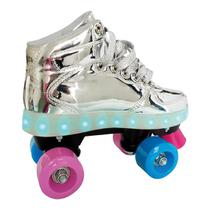 Patins Infantil 4 Rodas Fun Com Led Prata -