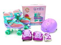 Patins Infantil 4 Rodas Violeta com Kit de Proteção Tamanho Ajustável 34 ao 37 - UNITOYS