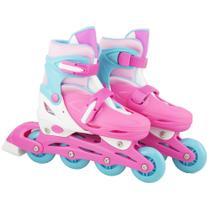 Patins Infantil com Led 4 Rodas In-Line Feminino 32-35 Rosa e Azul - Bbr toys
