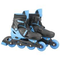 Patins Infantil com Led 4 Rodas In-Line Masculino 32-35 Preto e Azul - Bbr toys