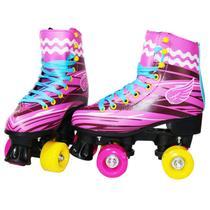 Patins Infantil Criança Roller Feminino Tam 34 Rosa 4 Rodas Importway - Import Way