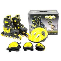 Patins infantil inline roller ajustável 34 ao 37 com kit de proteção unitoys - várias cores -