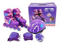 Patins Infantil Inline Roller Capacete Kit Proteção Unitoys -