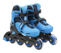 Patins infantil Masculino Roller tri line e inline com Acessórios e Capacete 32-35 Azul com preto - Bbr toys