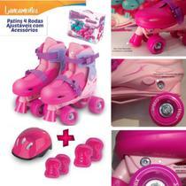 Patins Infantil Menina 4 Rodas Ajustável 30-37 Kit Proteção - FÊNIX