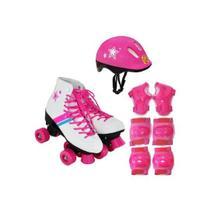 Patins infantil menina roller flash star com kit de proteção - DM TOYS