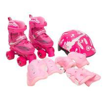 Patins Infantil Roller 4 Rodas + Capacete Proteção Ajustável Tamanho: M - Rosa - Atitude Mix