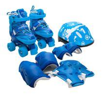 Patins Infantil Roller 4 Rodas + Capacete Proteção Ajustável Tamanho: P - Azul - Atitude Mix