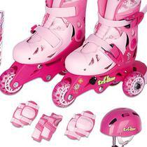 Patins Infantil Tri-line Ajustável 30/33 C/ Kit Proteção Rosa - Fenix