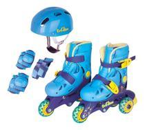 Patins Infantil Tri-line Ajustável 30 ao 33 Com Kit Proteção Azul - Fenix