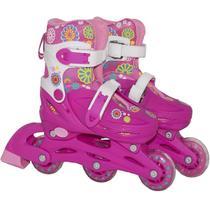 Patins Menina Rosa 4 Rodas Roller 32/35 Ajustável 2 Em 1 + Kit Proteção + Bolsa - Bbr