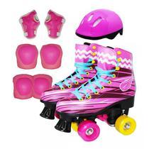 Patins Menina Rosa Sou Luna 4 Rodas Roller 32/33 + Kit Proteção Capacete - Import way