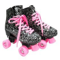 Patins Quad Roller New 4 Rodas 32-38 Preto E Rosa Meninas - Dm Toys