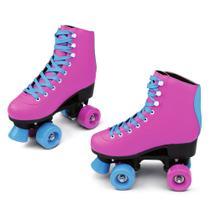 Patins Quad Roller - Retrô - Rosa e Azul - 32 - DTC -