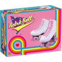 Patins retro roll - branco com rosa  dtc -