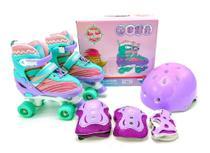 Patins Roller 4 Rodas Infantil Violeta com Kit de Proteção e Capacete 34-37 - UNITOYS