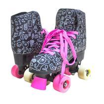 Patins Roller 4 Rodas Meninas Desenho Cadarço Freio 50kg - 39 preto - Atitude Mix