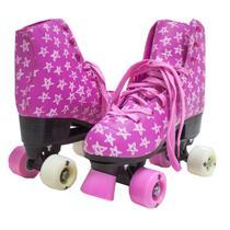 Patins Roller 4 Rodas Meninas Estrelas Cadarço Freio 50kg - 37 rosa - Atitude Mix