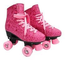 Patins Roller Feminino 4 Rodas Com Cadarço Desenho Meninas - Dm Toys
