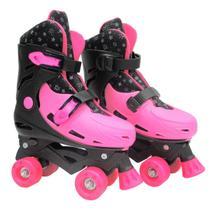 Patins Roller Feminino Ajustável Pink Glitter - Dm Toys -