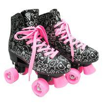 Patins Roller Feminino Estilo New Preto E Rosa - Dm Toys -
