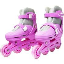 Patins Roller In Line 4 Rodas Infantil Feminino Rosa Tamanho 33 34 35 36 Importway BW-018-R -