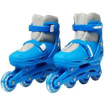 Patins Roller In Line 4 Rodas Infantil Masculino Azul Tamanho 33 34 35 36 Importway BW-018-AZ