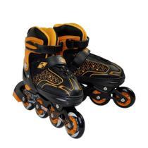 Patins Roller In Line Ajustável 33 36 Preto e Laranja Discovery Adventures Yins Abec-7 -