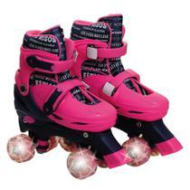 Patins Roller infantil 4 Rodas Paralelas Rosa com Luz de Led Ajustável de Menina - Unik Toys -