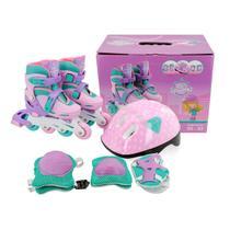 Patins Roller Infantil Feminino 30-33 + Kit de Proteção - Unitoys