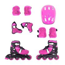 Patins Roller Infantil Rosa Ajustavel Com Kit Proteção - Bel