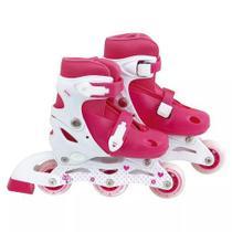 Patins Roller Infantil Rosa Ajustável Do 30 A 33 - Mor -