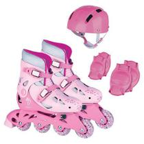 Patins Roller Infantil Rosa  Capacete Kit Proteção - Fenix