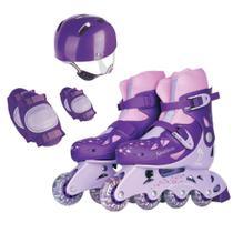 Patins Roller Infantil Roxo  Capacete Kit Proteção - Fenix