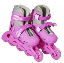 Patins Roller Inline Rosa Pink Numeração Ajustável Feminino - Way roller